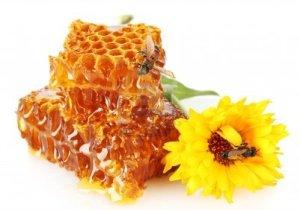 14732839-nido-de-abeja-dulce-con-miel-la-abeja-y-la-flor-aislado-en-blanco